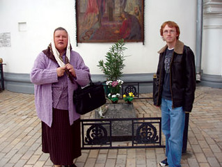 Helen and Thaddeus McCleary outside of the  Pecherskaya Lavra Monastery in Kyiv.