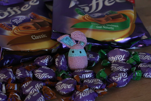 Toffee by Milka, hungry bunny inside