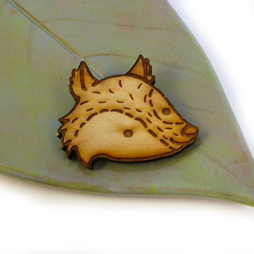 Woodland Fox Friend Wood Pin 1