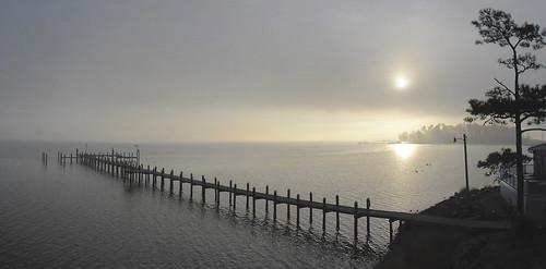 panorama fog landscape island pier us maryland potomac potomacriver 2012