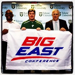 Football's Coach Johnson, basketball's  Ed Conroy, and President Cowen at Tulane's Big East presser #tulane #bigeast