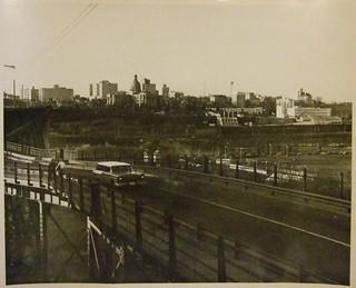 EDMONTON HIGH LEVEL BRIDGE, LOOKING NORTH TOWARD ALBERTA PARLIAMENT BUILDINGS 1962