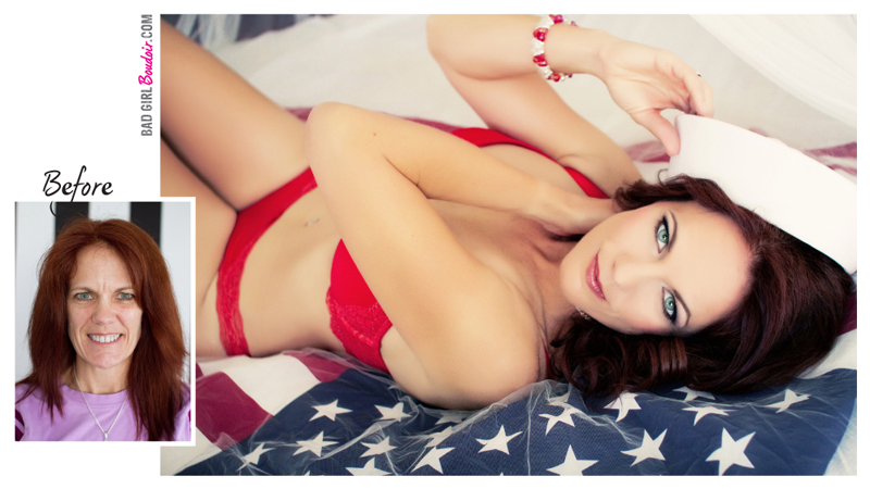Boudoir Pinup Before and After Makeover