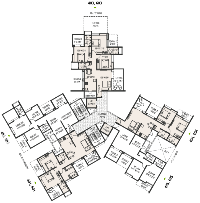 Typical Floor Plan - 33 KeshavKunj, 2 BHK 2.5 BHK & 3 BHK Flats, near Orbis School, at Keshav-Nagar, Mundhwa, Pune 36