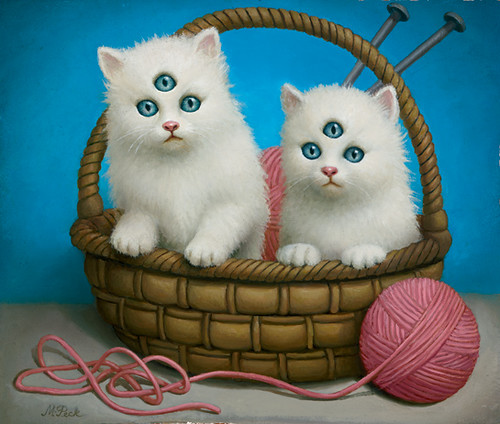 Marion Peck, Kittens, Oil on panel, 2003