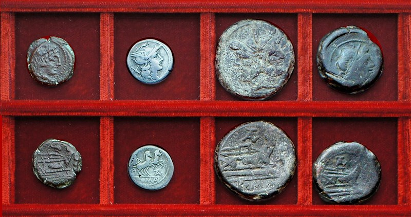 RRC 160 dolphin quadrans, RRC 161 TAL Juventia denarius, bronzes, Ahala collection, coins of the Roman Republic