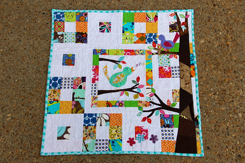 Finished patchwork and bird mini quilt