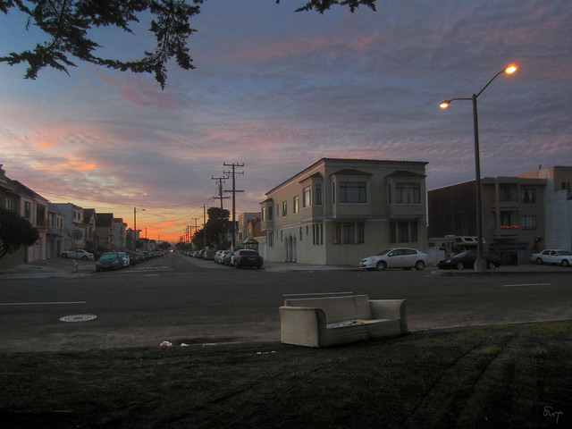 discarded couch on Lincoln Way; The sunset, san francisco (2012)