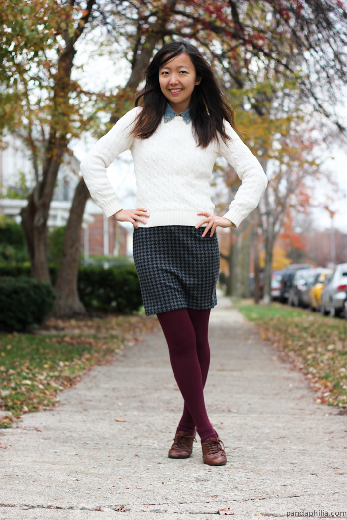 cable knit houndstooth burgundy