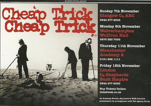 November 2010 Cheap Trick UK Tour