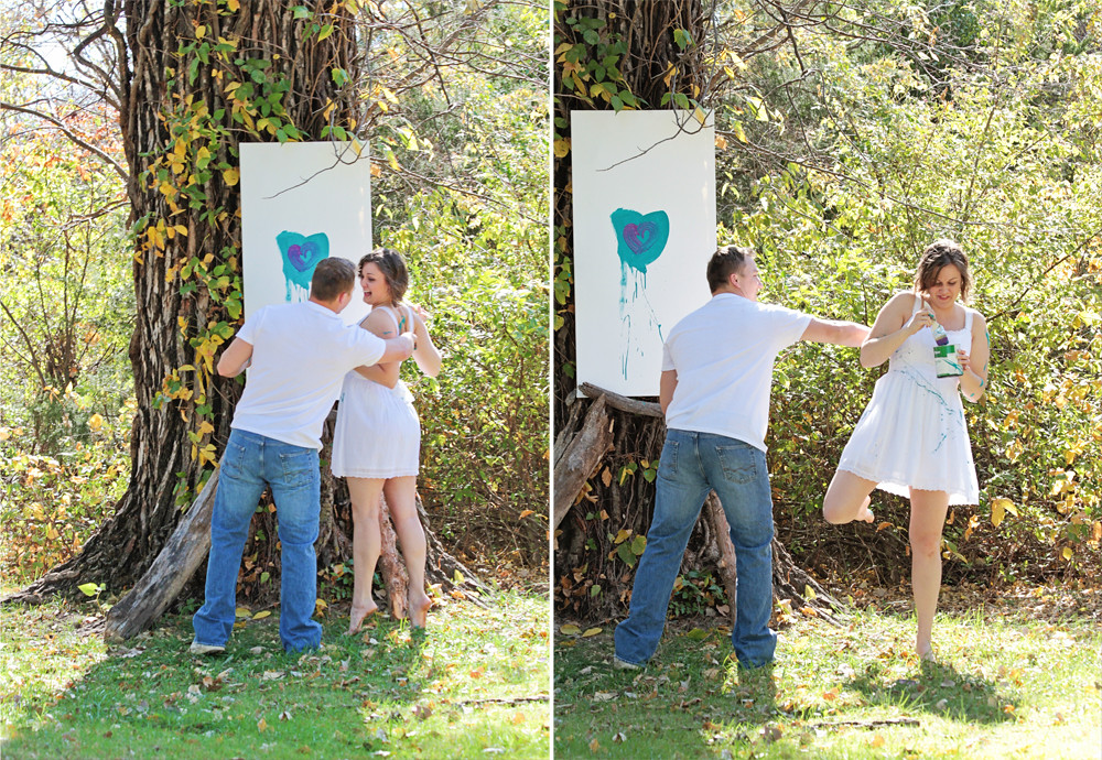 Reagan & Mickey {paint fight engagement}