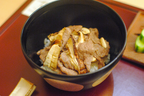 ginger beef donburi, matsutake mushrooms, soybean curd miso, pickles