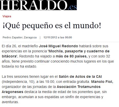 Mención en Heraldo de Aragón (12/11/2012)