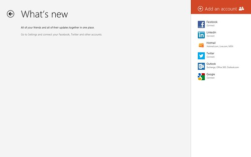 Windows 8 - Add People (Facebook, LinkedIn, Hotmail, Twitter and Google all can be added and manage in People.)