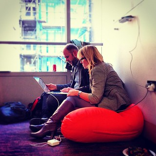 Simon & Philipa  prepare for the next #globalsharingday session at #mozldn