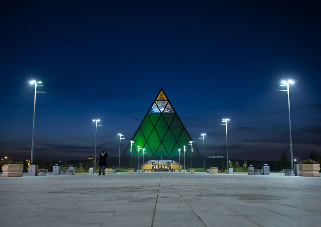 Palace of Peace and Reconciliation at night, Astana, Kazakhstan