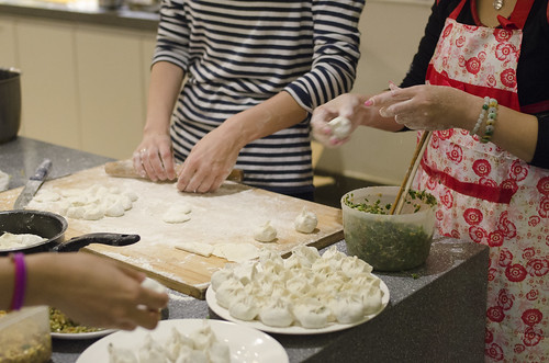 Leaning how to cook Chinese dumpling