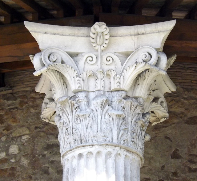 Detail of a Corinthian Capital on the Round Temple by Tiber in Rome, June 2012