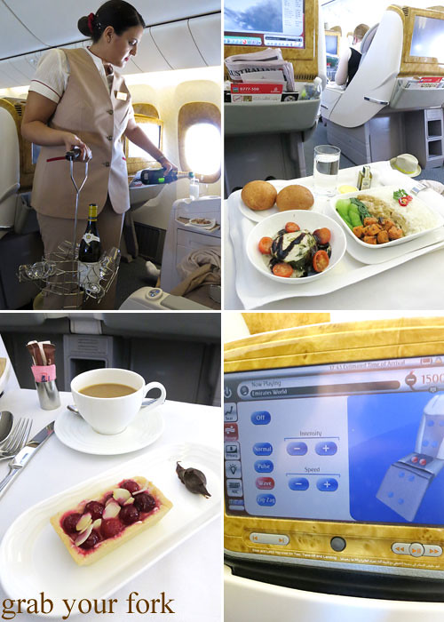 emirates business class moet & chandon champagne take-off and massage chair function