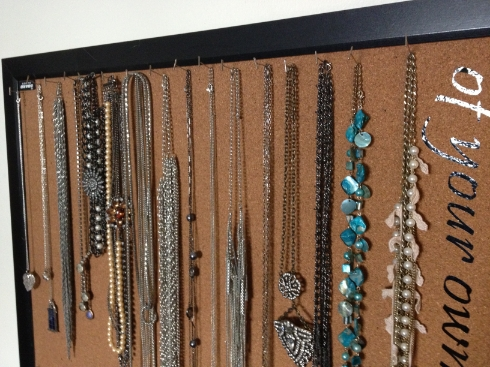 Jewelry Corkboard organization