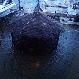 Gazebo out back half submerged. Candles lit just in case.