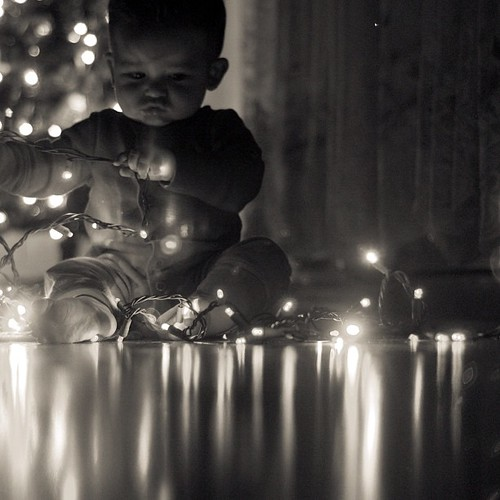 Deck the halls. #Cord #boy #baby #lights #blackandwhite #instagood #instagood_lawrenceburg_indiana #enjoyingthesmallthings