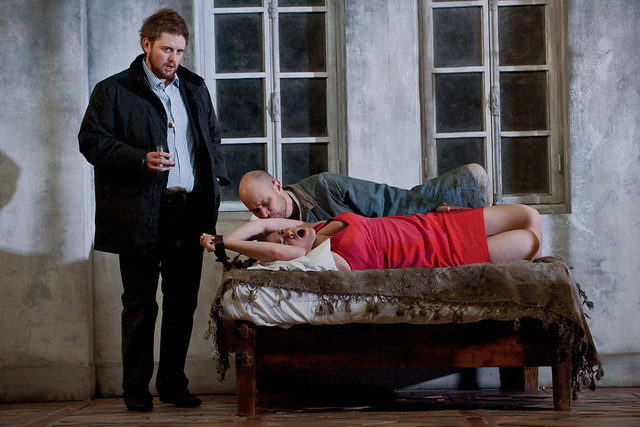Allan Clayton as John, Rebecca Jo Loeb as Marie and Bejun Mehta as Boy in Written on Skin © 2012 ROH/Stephen Cummiskey