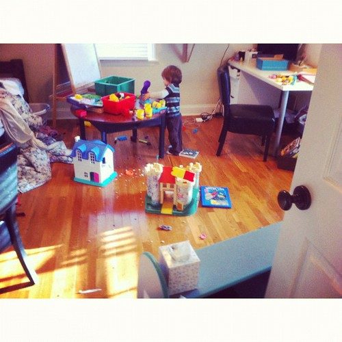 Part 2 of why you check on them when they're quiet. K rearranged furniture and Mick's having a playdough party.