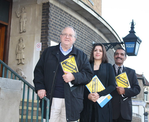 Councillors Bob Sullivan, Naheed Qureshi and Farooq Qureshi outside the Francis Road Police Station