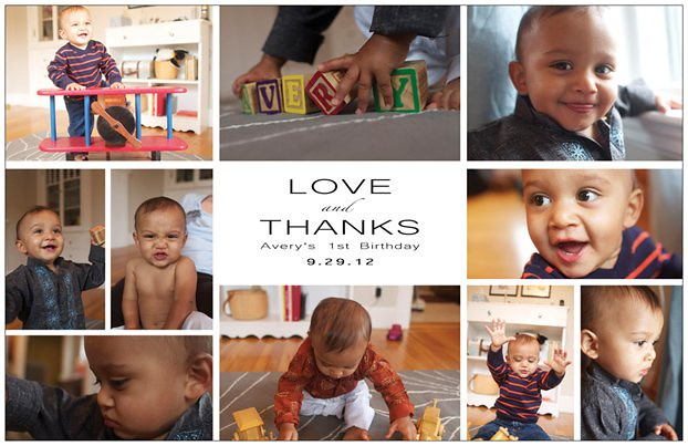 one year old birthday thank you card