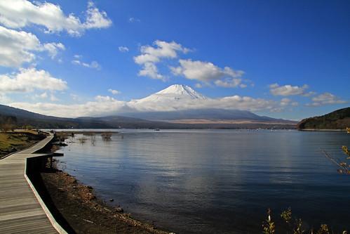 Paseo por el lago con Fuji al fondo