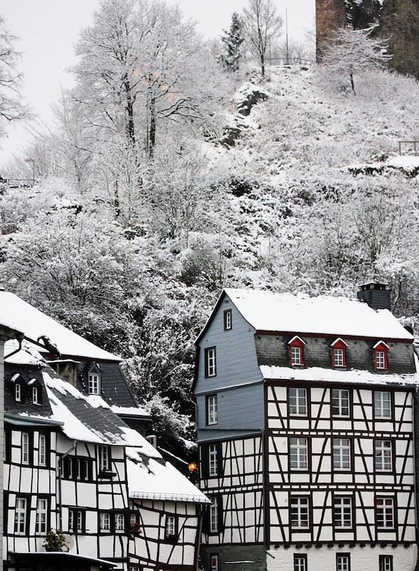Monschau half timbered houses Christmas