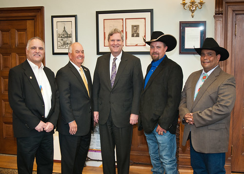 Agriculture Secretary Tom Vilsack meets with members of the Council for Native American Farming and Ranching at the Agriculture Department on December 5th.  (Left to right)  Gerald Lunak, Jerry McPeak, Sec. Vilsack,  Porter Holder, and Mark Wadsworth