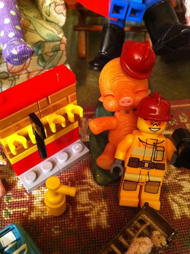 "Lego Advent City DaY 5 - ""Fireman's Axe & Tool Wall w/ Fire Extinguisher"" w/ Bonkeka Kayu by DollZWize"
