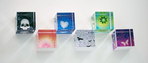 Art Paperweight Glass Cubes