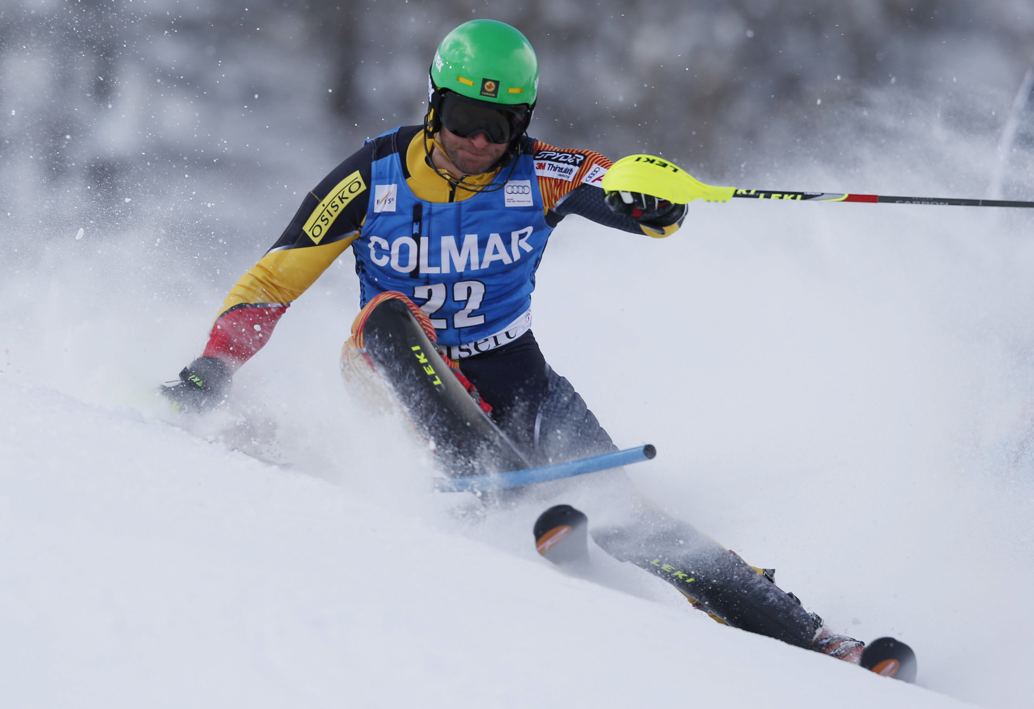 Mike Janyk races slalom in Val d'Isère, France.