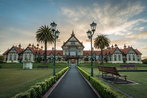 newzealand museum sunrise dawn day rotorua cloudy tudor