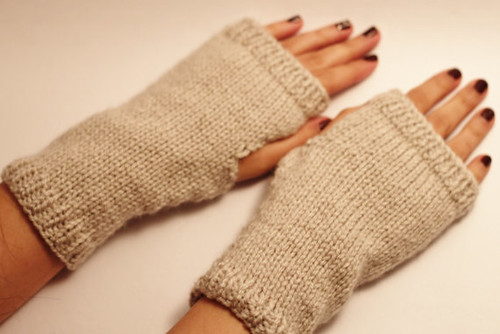 hand knitted fingerless gloves oatmeal