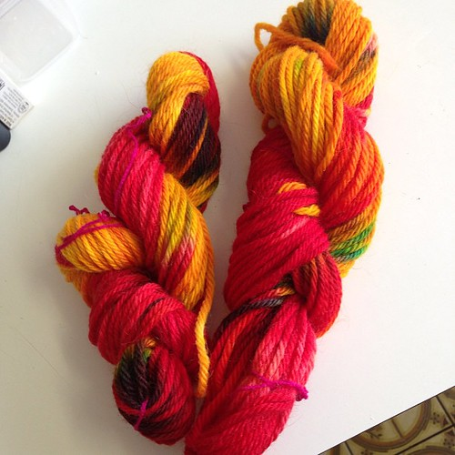Here's my hand dyed skeins from yesterday! So much fun and I can't believe the colours are so vibrant!