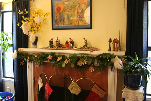 Mantel with Evergreen Garland