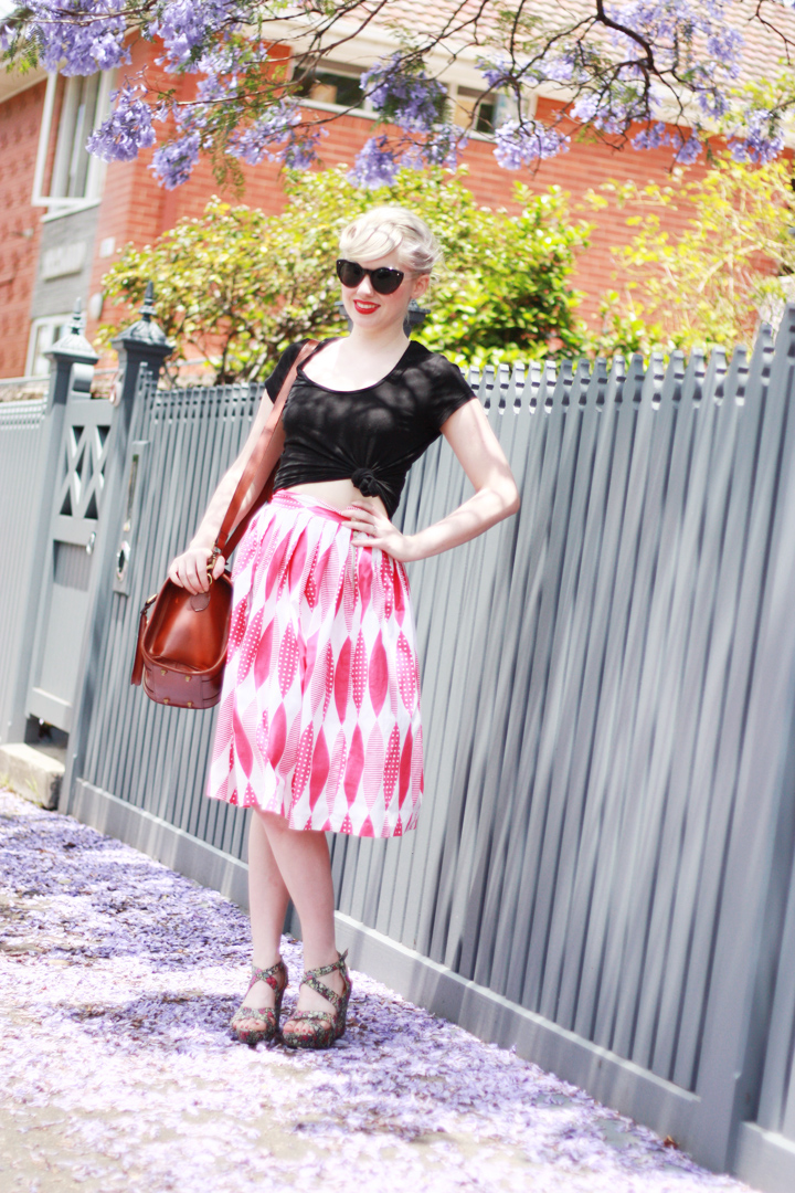 pink skirt jacaranda laneway b