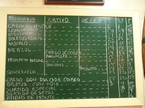 Logroño | La Segunda Taberna | Cartel Precios Setas