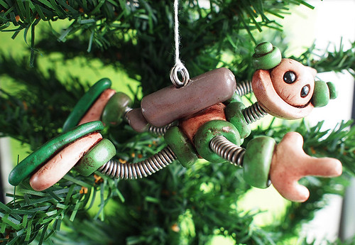 Green Gip Robot with Jetpack Christmas Ornament by HerArtSheLoves