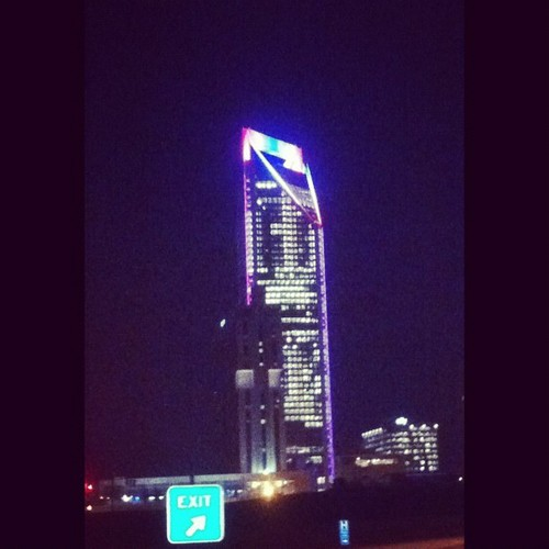 Duke Building is a mix of red and blue tonight, but I think it looks more blue. #stayblue #please