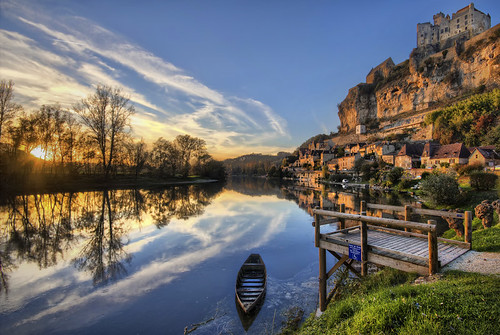 sunset france castle hdr
