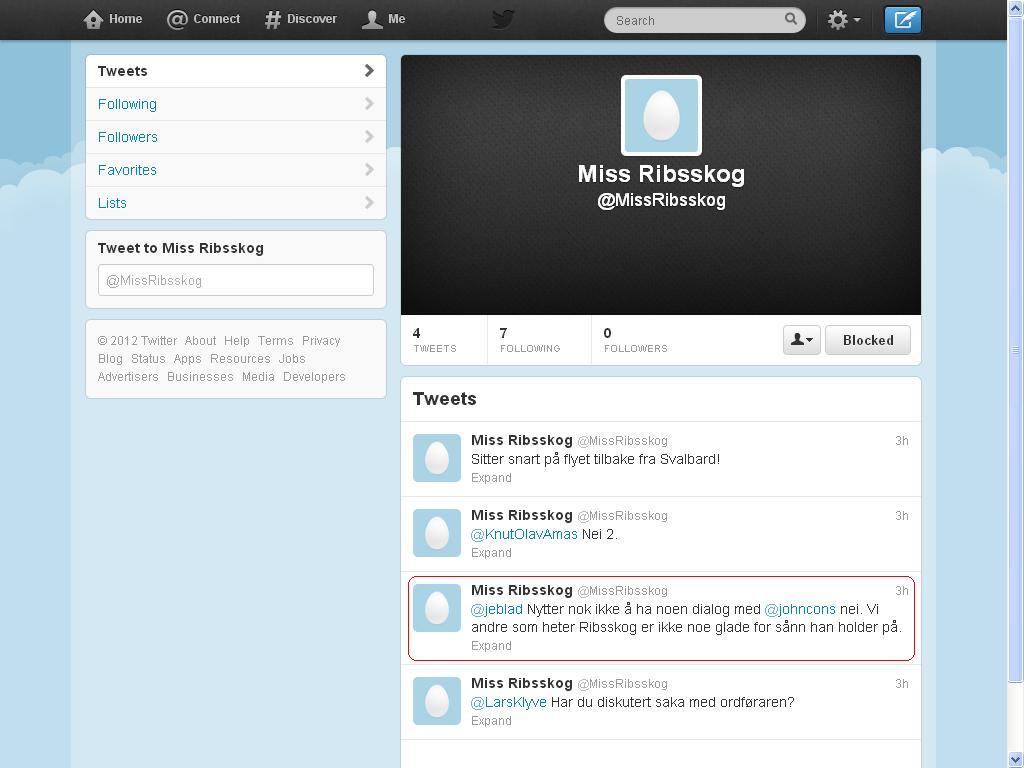 klagen var på denne twitter kontoen