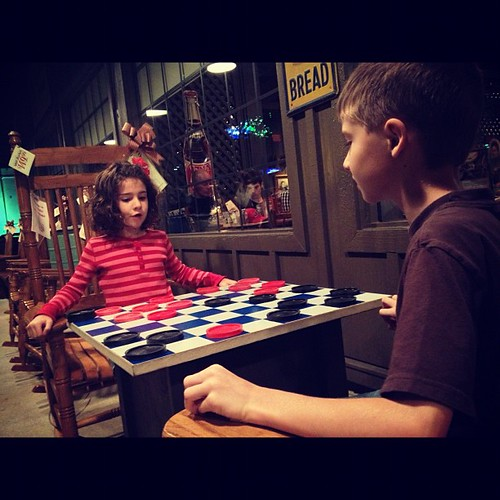 Shhh, don't tell anyone, but we snuck next door to Cracker Barrel to play checkers. :-)