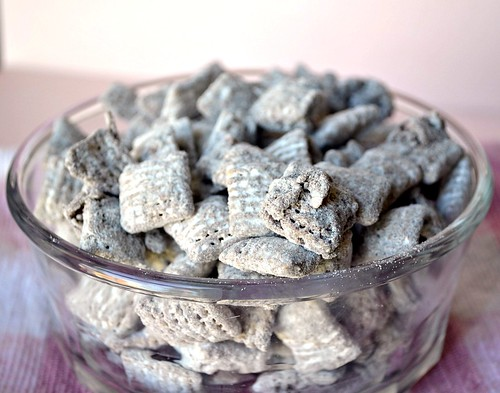 German chocolate puppy chow with coconut and pecan butter