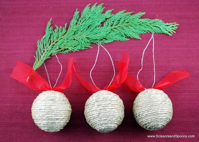 Diy christmas ornaments string or twine balls scissors and spoons - String ornaments christmas ...