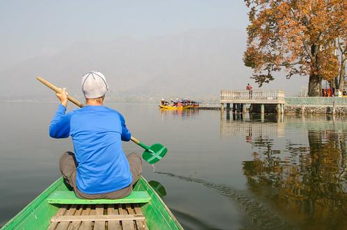 Eric paddling us around non Dal Lake